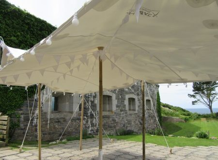 4 x 6m white stretch tent at Polhawn fort