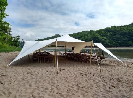 10x15m stretch tent at Pamflete Estate showing the 10m length